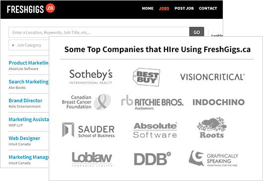 Some Top Companies that Hire Using FreshGigs.ca include Sotheby's, Graphically Speaking, and Absolute Software